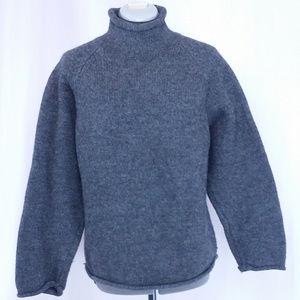 J Crew Heavy Wool Sweater Gray Turtle Neck Medium